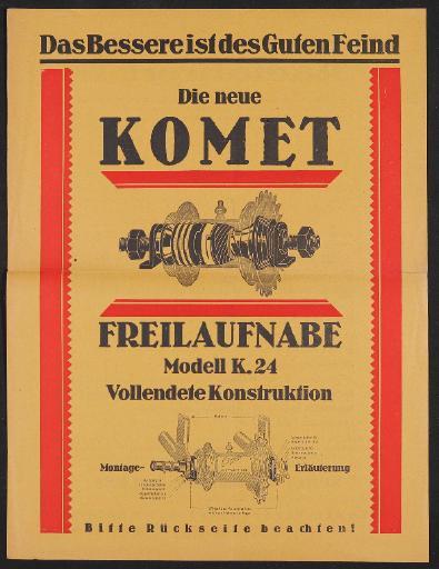Komet Freilaufnabe, Werbeblatt für Modell K.24, 1925