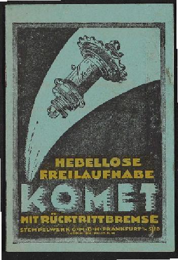 Komet Hebellose Freilauf-Nabe Modell K 24  Info-Broschüre 1920er Jahre