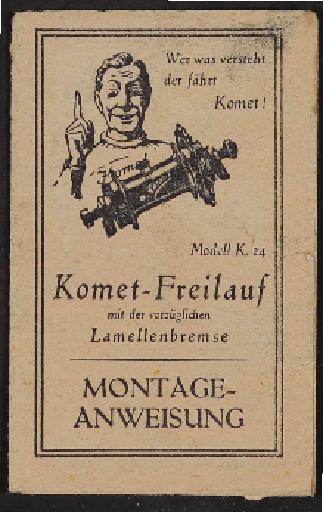 Komet Hebellose Freilauf-Nabe Modell K 24 Montageanweisung 1920er Jahre