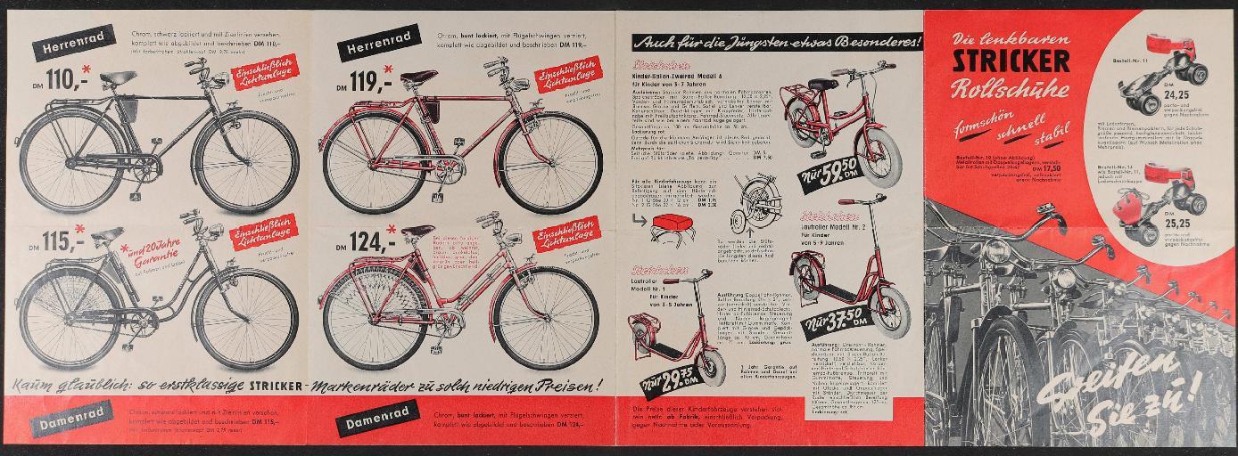 E.u.P. Stricker Fahrradfabrik Faltblatt 1950er Jahre