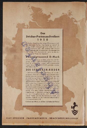 E.u.P. Stricker Fahrradfabrik Katalog Preisausschreiben 2 1950
