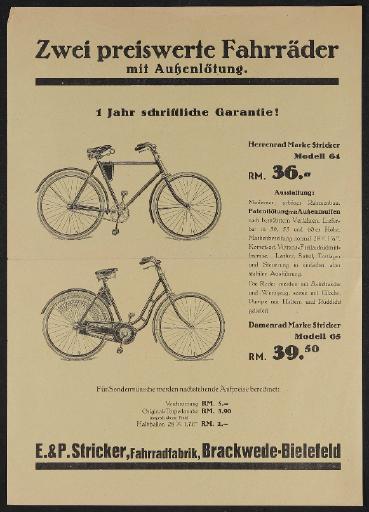 E.u.P. Stricker Fahrradfabrik Werbeblatt 1930er Jahre