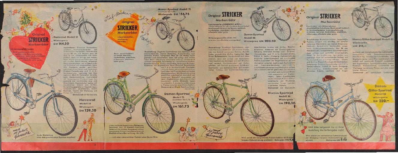 Stricker Markenräder Faltblatt 1950er Jahre