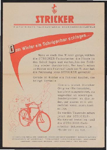 Stricker Winter-Faltblatt 1960er Jahre