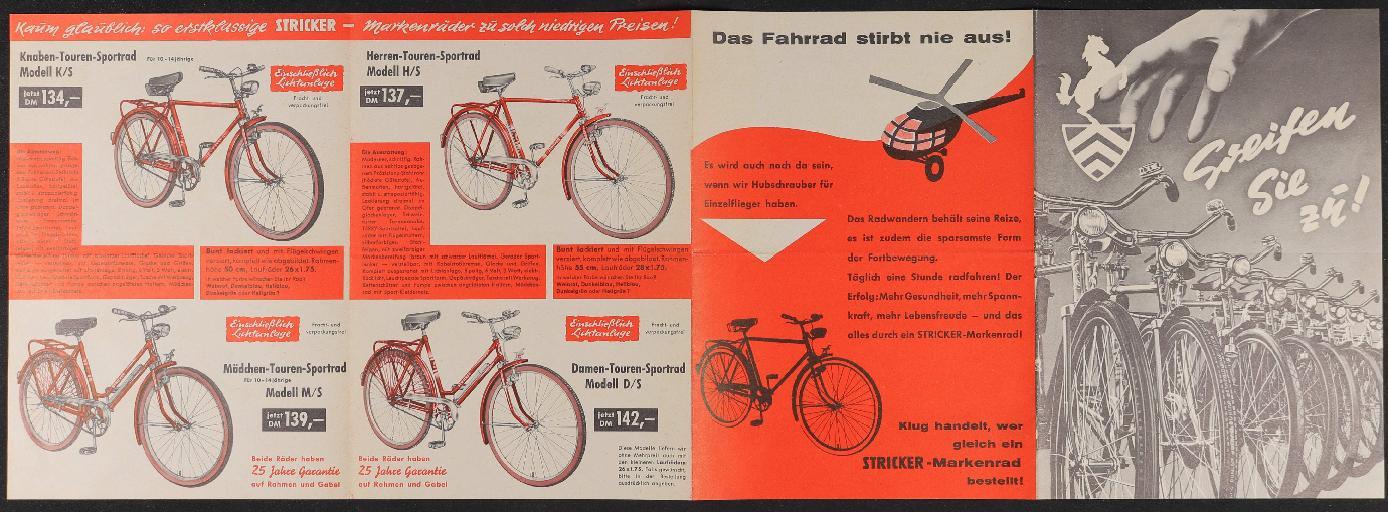 Stricker-Markenräder Faltblatt 2 1950er Jahre