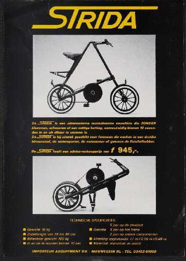 Strida Faltfahrrad Werbeblatt 1980er Jahre