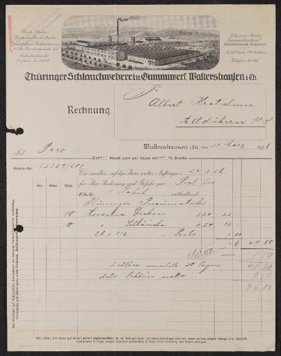 TSG Thüringer Schlauchweberei u. Gummiwerk Waltershausen Rechnung 1926