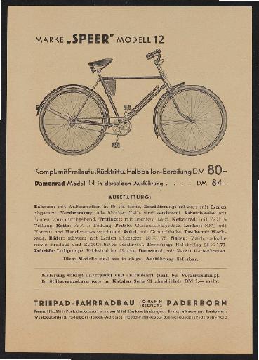 Triepad Fahrradbau Werbeblatt 1951