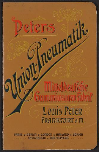 Union Pneumatik, Peters Union-Pneumatik, Mitteldeutsche Gummiwaaren-Fabrik, Preisliste 1890er Jahre