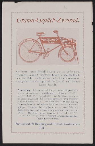 Urania Gepäckrad Werbeblatt 1920er Jahre
