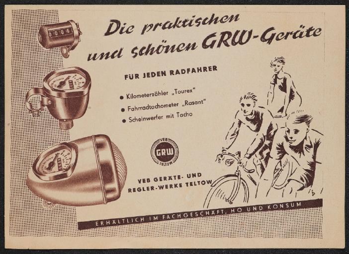 VEB GRW Teltow Die praktischen und schönen GRW-Geräte Werbeanzeige 50er Jahre