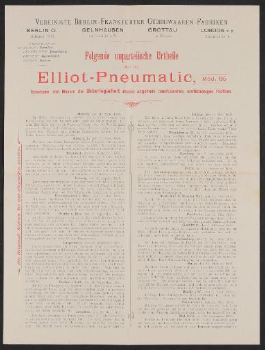 Elliot-Pneumatic, Vereinigte Berlin-Frankfurter Gummiwaaren-Fabriken, Kunden Urtheile 1895