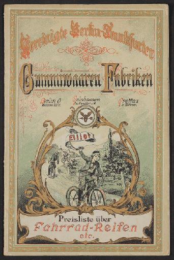 Vereinigte Berlin-Frankfurter Gummiwaaren Fabriken, Preisliste über Fahrradreifen 1890er Jahre