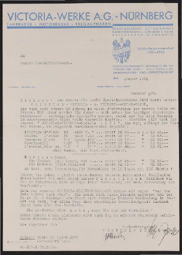 Victoria Brief mit Preisliste 1932