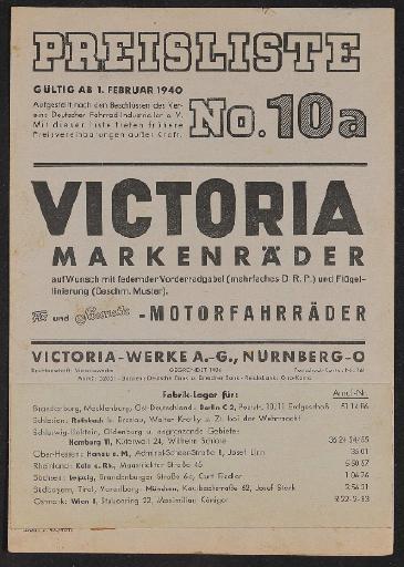 Victoria Markenrad Preisliste 1940