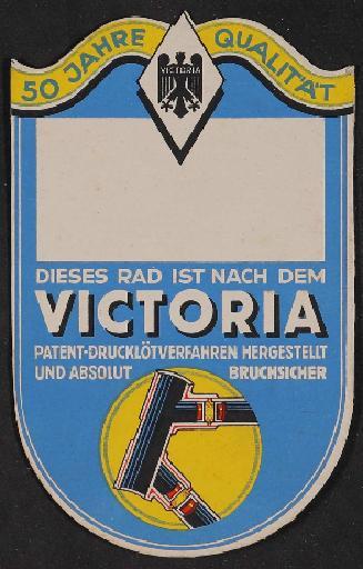 Victoria Markenrad Werbeanhänger 1936