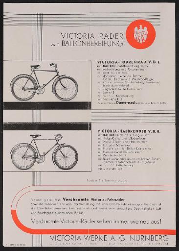 Victoria Räder mit Ballonbereifung Werbeblatt 1930