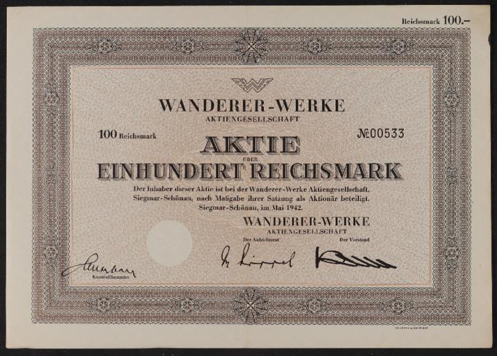 Wanderer Aktie 100 RM 1942