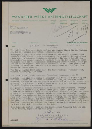 Wanderer Brief an Händler 1939