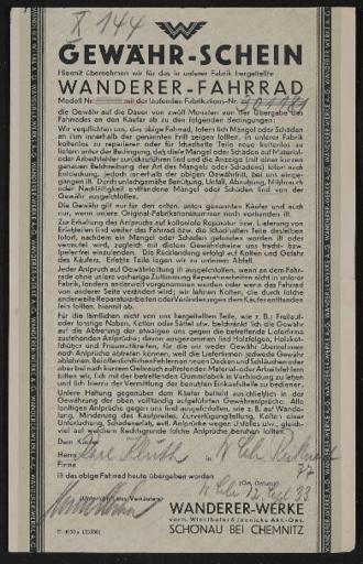 Wanderer Gewährschein 1933