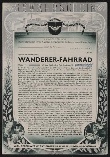 Wanderer Gewährschein Faltblatt 1930er Jahre