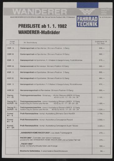 Wanderer Preisliste 1982