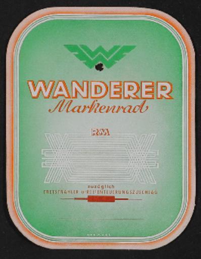 Wanderer Schild für Preisauszeichnung 1930er Jahre
