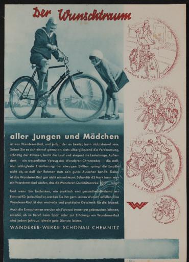 Wanderer Werbeblatt 1930er Jahre