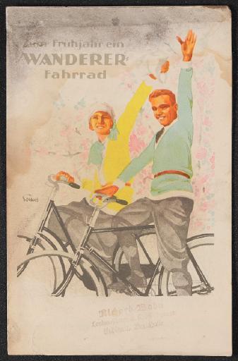 Wanderer Zum Frühjahr ein Wanderer Fahrrad Faltblatt 20er Jahre