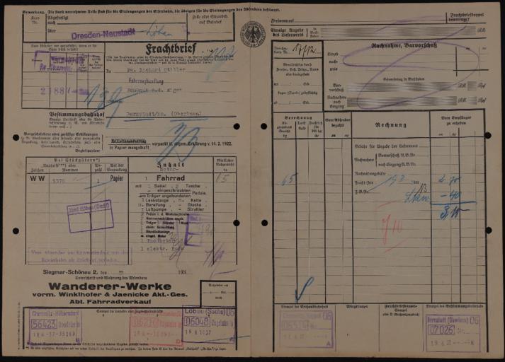 Wanderer-Werke Rechnungen 1930 - 1940er Jahre