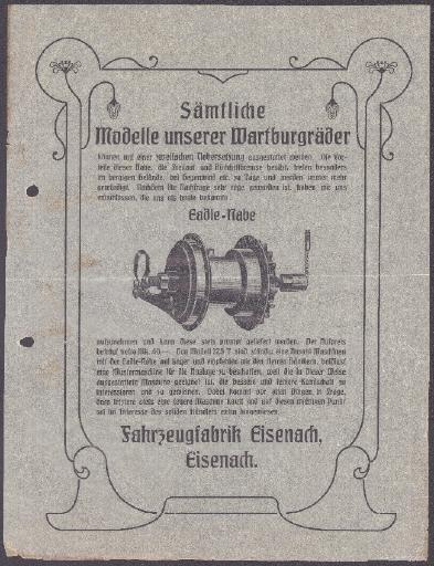 Wartburg Werbeblatt für Eadie Freilaufnabe 1906