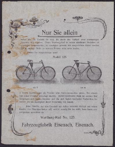 Wartburg Werbeblatt für Modell 125 1906
