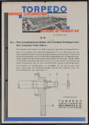 Torpedo Demontageanleitung Glocken-Tretlager 1927