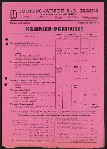 Torpedo Werke Preislisten 1939