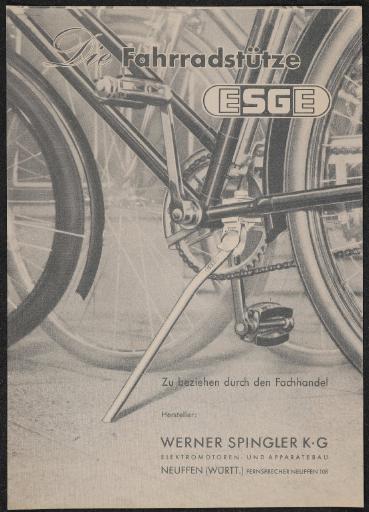Werner Spingler Die Fahrradstütze ESGE Werbeblatt 50er Jahre