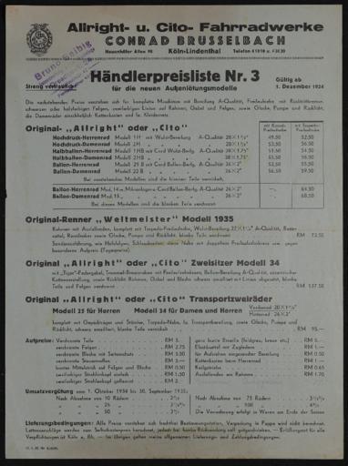 Allright-Fahrrad- u. Cito- Fahradwerke Händlerpreisliste  1934