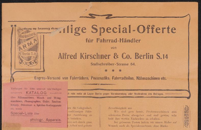Arma Alfred Kirschner u. Co. Berlin Händlerinformation 1920er Jahre
