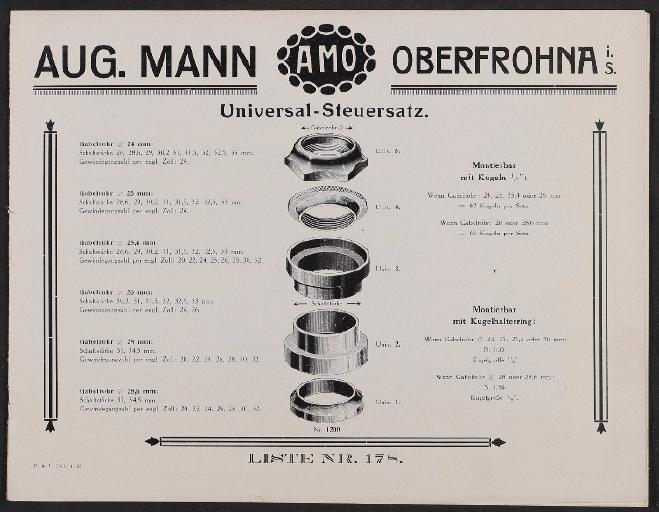 Aug. Mann AMO Steuersatz Katalog 1928