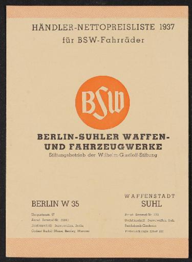 BSW-Fahrrad Preisliste Faltblatt  1937