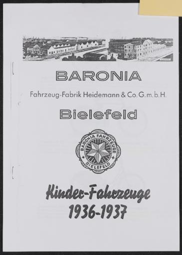 Baronia Heidemann Bielfeld Kinder-Fahrzeuge  Werbeblatt 1936