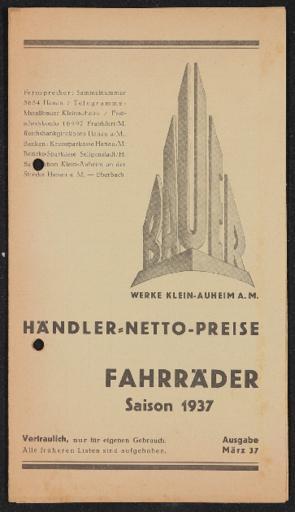 Bauer Fahräder Preislisten 1936 1937 1930er Jahre