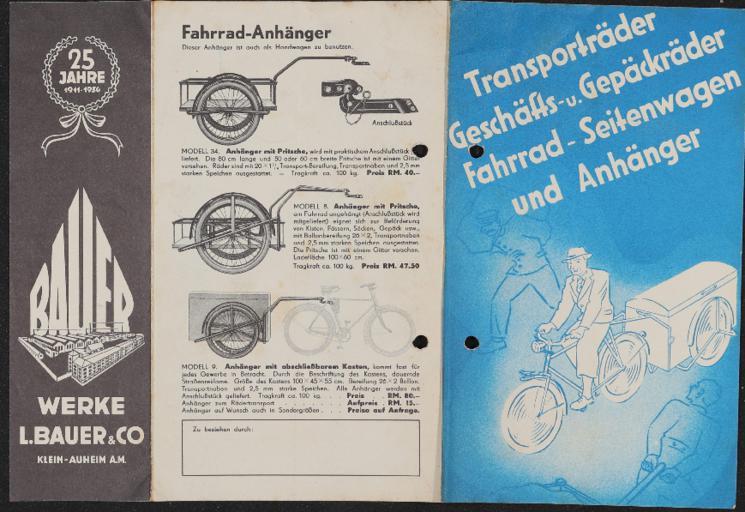 Bauer Fahrrad-Anhänger Faltblatt 1936