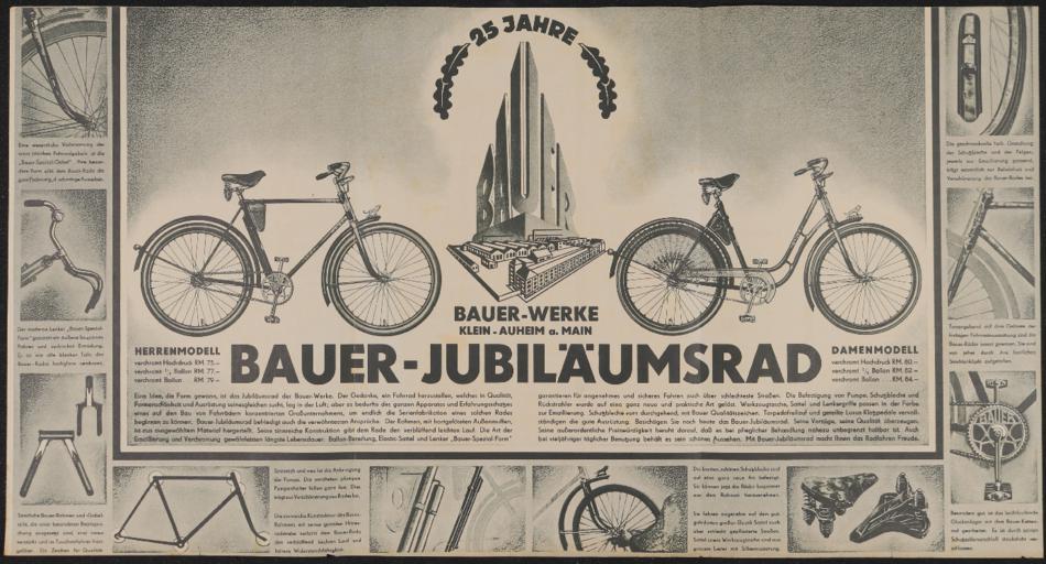 Bauer Jubiläumsrad Faltblatt 1936 1937 1930er Jahre
