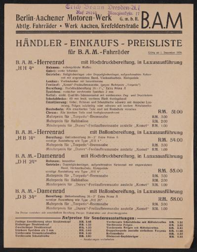 B.A.M. Preisliste 1934