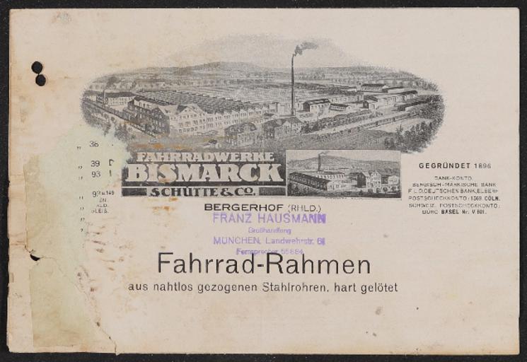 Bismarck Fahrradwerke Schütte Co. Fahrrad-Rahmen Faltblatt 1920er Jahre