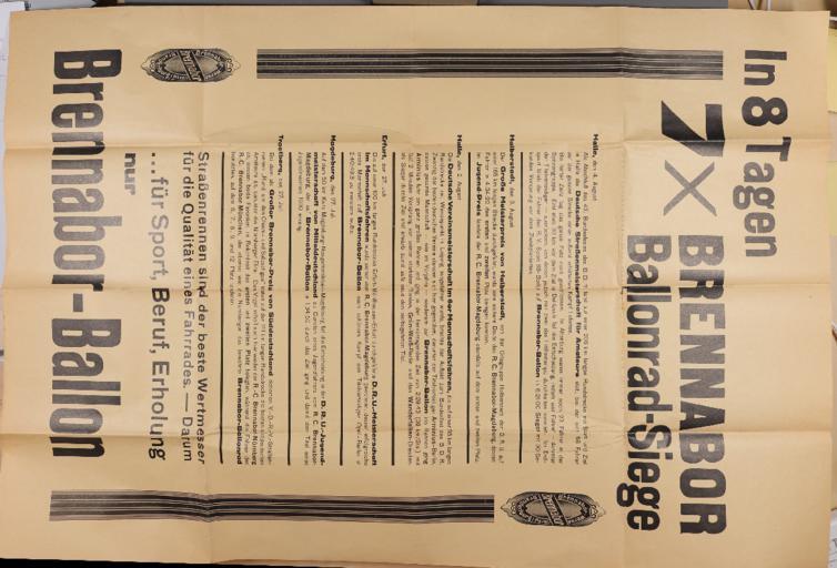 Brennabor Ballonrad-Siege Plakat 1930er Jahre