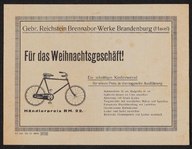 Brennabor Kinderzweirad Prospekt 1929
