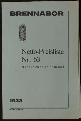Brennabor Netto-Preisliste Nr.63 1933