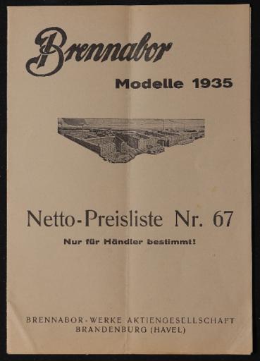 Brennabor Nettopreisliste Nr.67 1935
