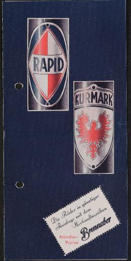 Brennabor Rapid Kurmark Faltblatt 1936